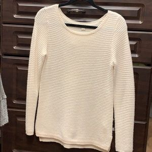 Peach/white stitched sweater